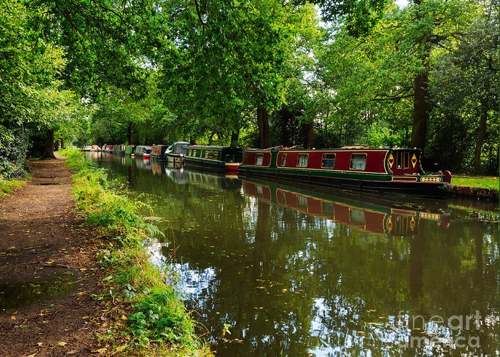 English Canal Greeting Card featuring the photograph Narrowboats Moored On The Wey Navigation In Surrey by Louise Heusinkveld