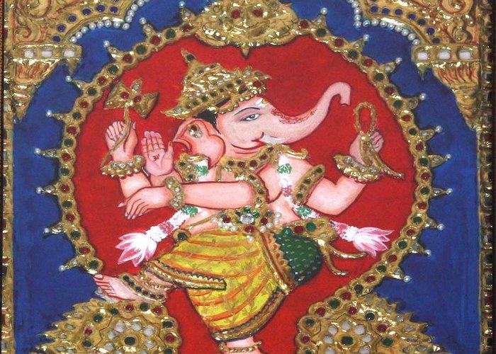 Tanjore Greeting Card featuring the painting Narthana Ganapathi by Jayashree
