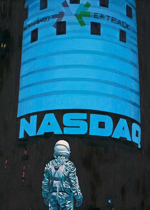 Astronaut Greeting Card featuring the painting Nasdaq by Scott Listfield