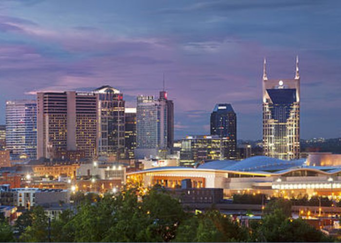 At&t Greeting Card featuring the photograph Nashville Skyline by Brian Jannsen