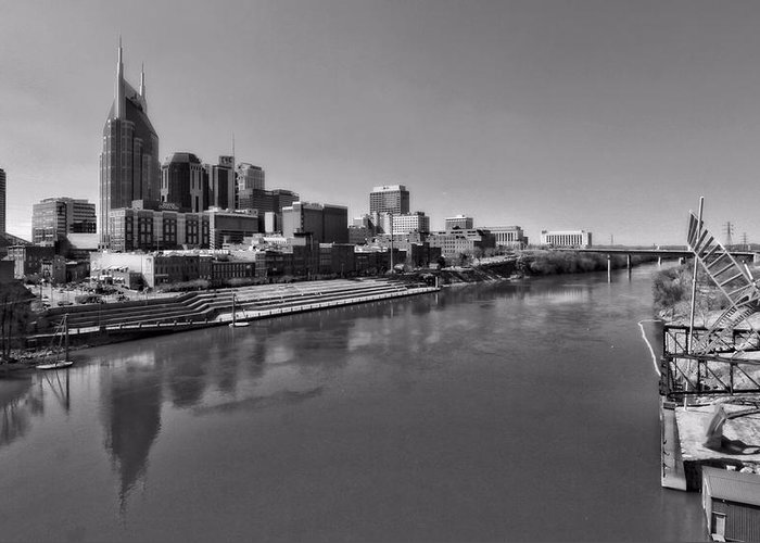 Nashville Skyline In Black And White At Day Greeting Card featuring the photograph Nashville Skyline In Black And White At Day by Dan Sproul