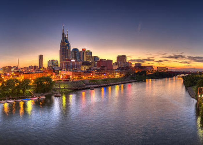 Pano Greeting Card featuring the photograph Nashville Skyline Panorama by Brett Engle