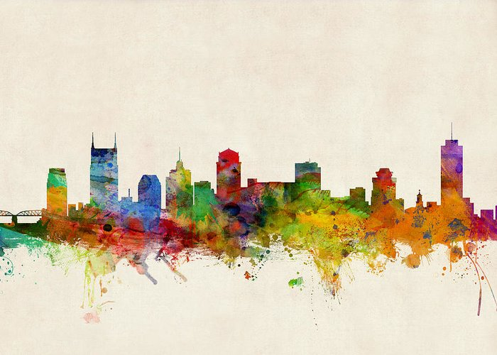 Watercolour Greeting Card featuring the digital art Nashville Tennessee Skyline by Michael Tompsett