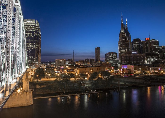 Nashville Greeting Card featuring the photograph Nashville Tennessee With Pedestrian Bridge by John McGraw