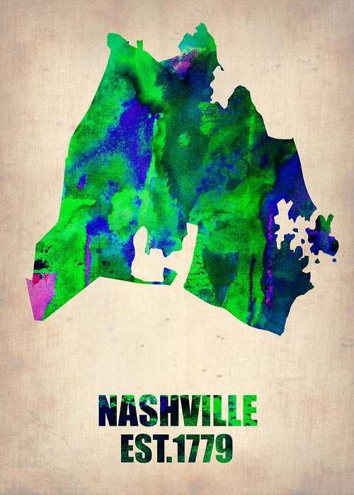 Nashville Greeting Card featuring the painting Nashville Watercolor Map by Naxart Studio