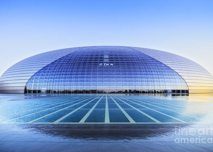 Architecture Greeting Card featuring the photograph National Centre For The Performing Arts Beijing China Sunset by Colin and Linda McKie