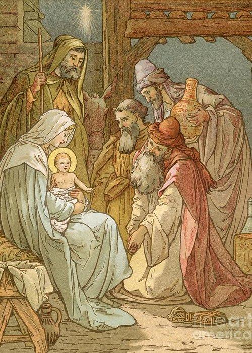 Bible; Nativity; Three Kings; Three Wise Men; Virgin Mary; Bethlehem; Star Of David; Manger; Presents; Birth; Jesus Christ; Joseph Greeting Card featuring the painting Nativity by John Lawson