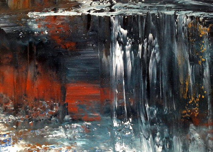 Water Greeting Card featuring the painting Natures Colours - Waterfall In The Sky by Jan Lowe