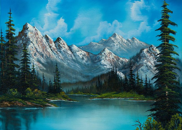 Landscape Greeting Card featuring the painting Nature's Grandeur by C Steele