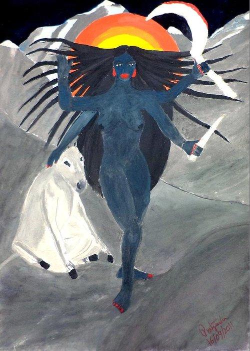 Nava Durga Greeting Card featuring the painting Nava Durga Kaalraatri by Pratyasha Nithin