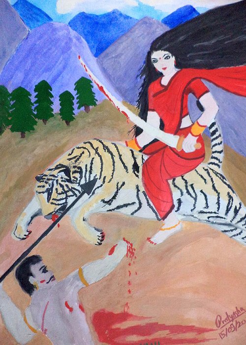 Nava Durga Greeting Card featuring the painting Nava Durga Kaatyayani by Pratyasha Nithin