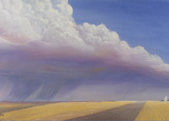 Landscape Greeting Card featuring the painting Nebraska Vista by Jerry McElroy