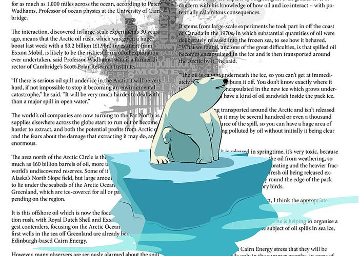 Polar Bear Greeting Card featuring the digital art Need More Ice Not Oil by Sassan Filsoof
