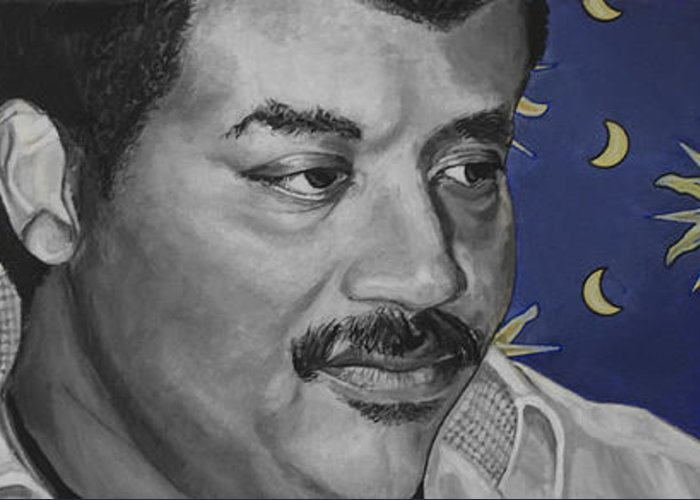 Neil Degrasse Tyson Greeting Card featuring the painting Neil Degrasse Tyson by Simon Kregar