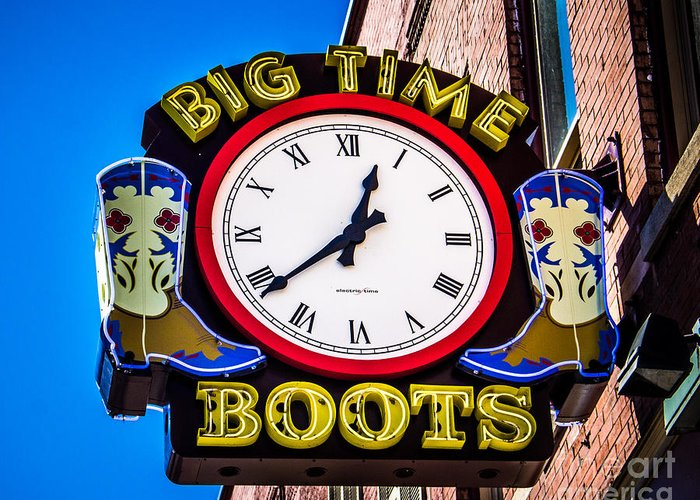 Sign Greeting Card featuring the photograph Neon Boots by Perry Webster