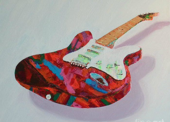 Guitar Greeting Card featuring the painting Neon Electric by Laura Toth