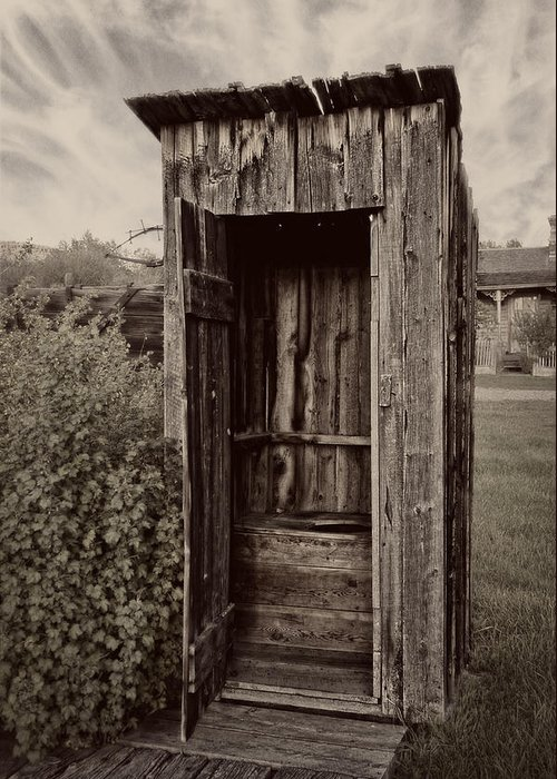 Outhouse Greeting Card featuring the photograph Nevada City Ghost Town Outhouse - Montana by Daniel Hagerman