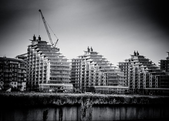 ascensis Tower Greeting Card featuring the photograph New Apartments In Battersea by Lenny Carter