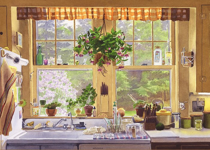 New England Greeting Card featuring the painting New England Kitchen Window by Mary Helmreich
