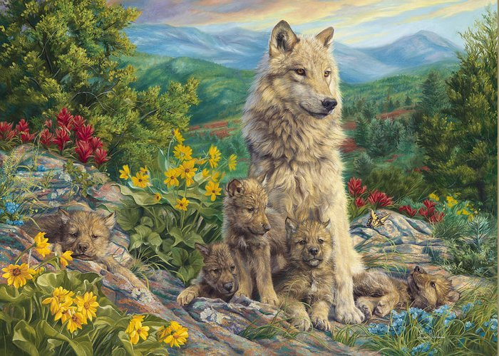 Wolf Greeting Card featuring the painting New Generation by Lucie Bilodeau