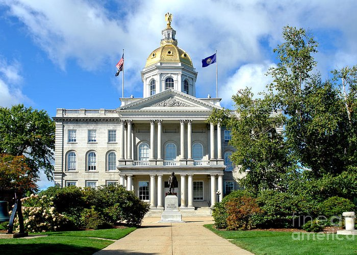 New Greeting Card featuring the photograph New Hampshire State Capitol by Olivier Le Queinec