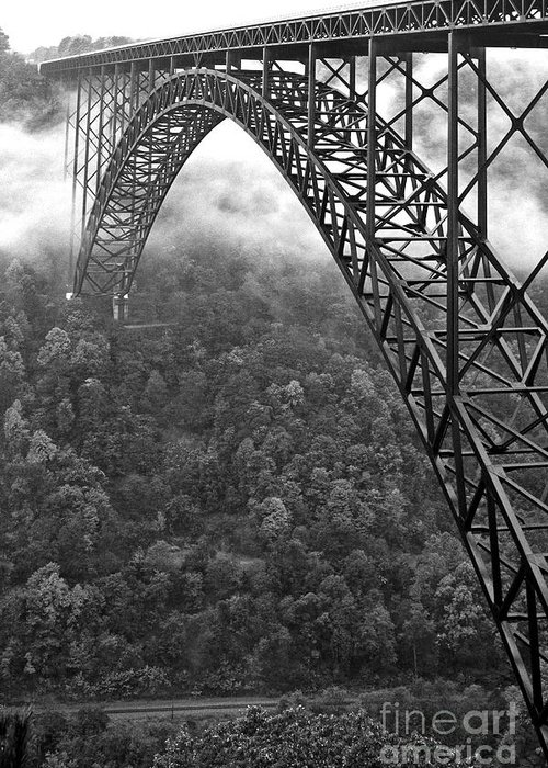 West Virginia Greeting Card featuring the photograph New River Gorge Bridge Black And White by Thomas R Fletcher