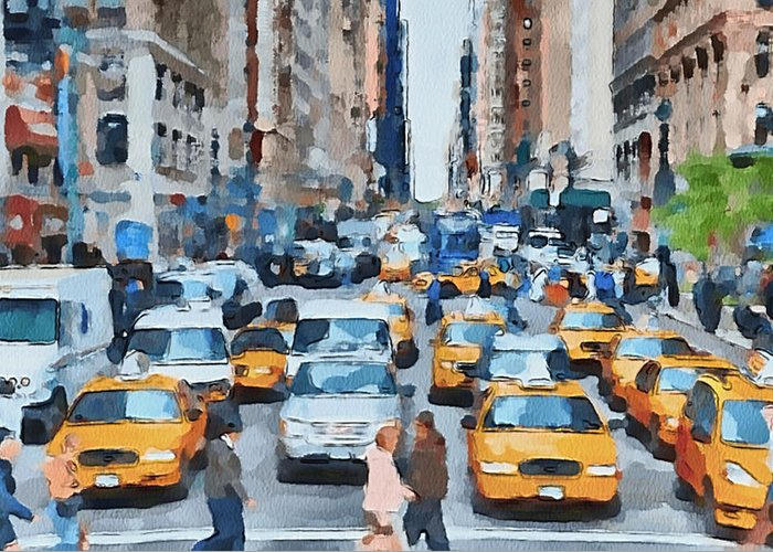New Greeting Card featuring the digital art New York 1 by Yury Malkov