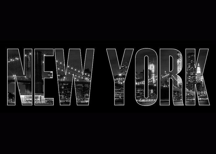 New York Greeting Card featuring the photograph New York City Brooklyn Bridge Bw by Melanie Viola