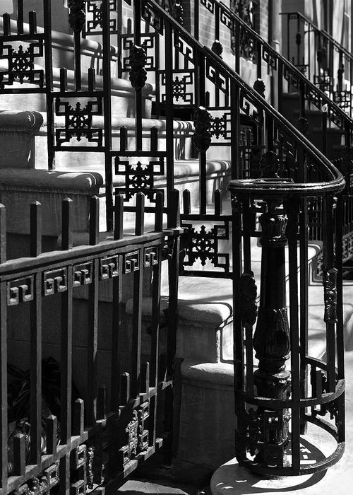 Stairway Greeting Card featuring the photograph New York City Wrought Iron by Rona Black