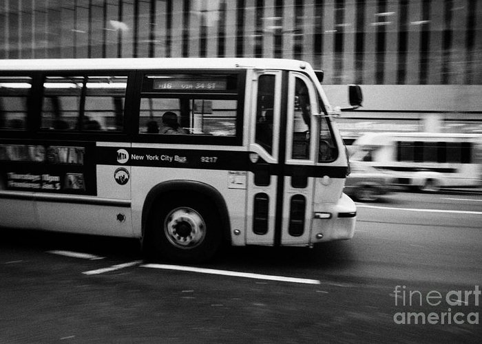Usa Greeting Card featuring the photograph New York Mta City Bus Speeding Along 34th Street Usa by Joe Fox