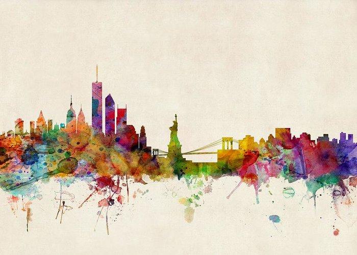 Watercolour Greeting Card featuring the digital art New York Skyline by Michael Tompsett