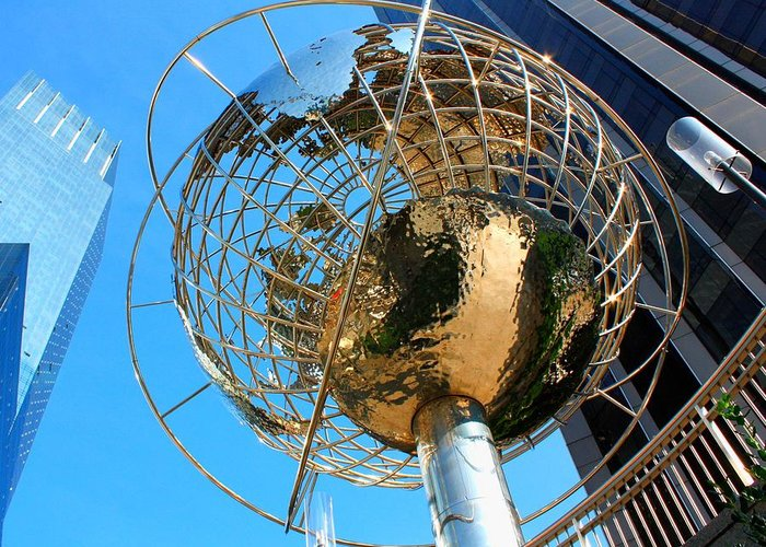Nyc Greeting Card featuring the photograph New York Steel Globe by Jenny Hudson