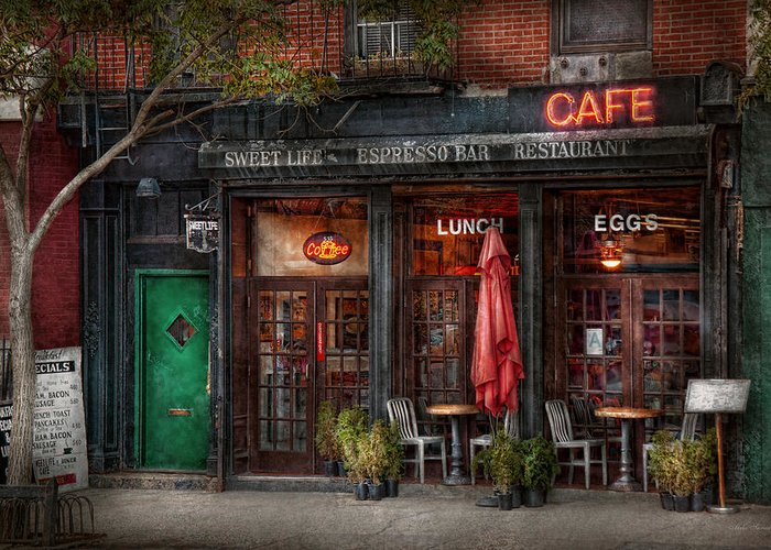 York Greeting Card featuring the photograph New York - Store - Greenwich Village - Sweet Life Cafe by Mike Savad