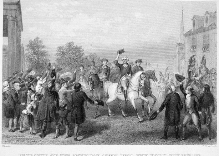 1783 Greeting Card featuring the photograph New York: Washington, 1783 by Granger