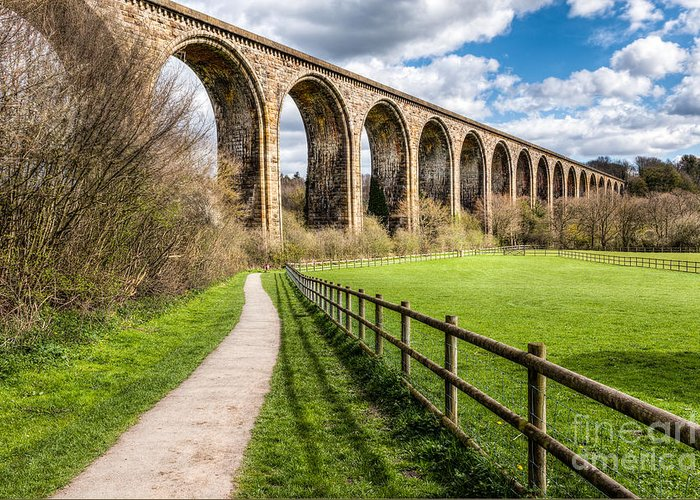 Arch Greeting Card featuring the photograph Newbridge Viaduct by Adrian Evans