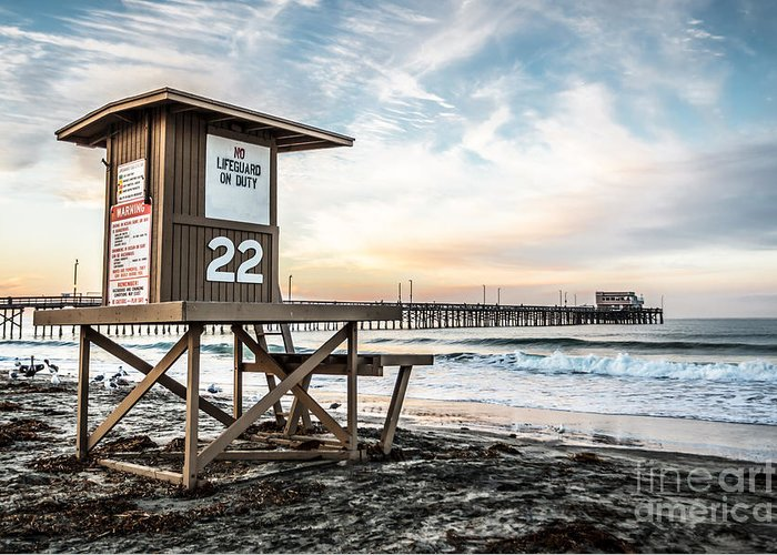 America Greeting Card featuring the photograph Newport Beach Pier And Lifeguard Tower 22 Photo by Paul Velgos