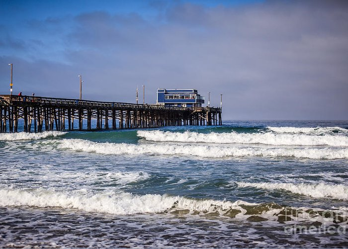America Greeting Card featuring the photograph Newport Beach Pier In Orange County California by Paul Velgos