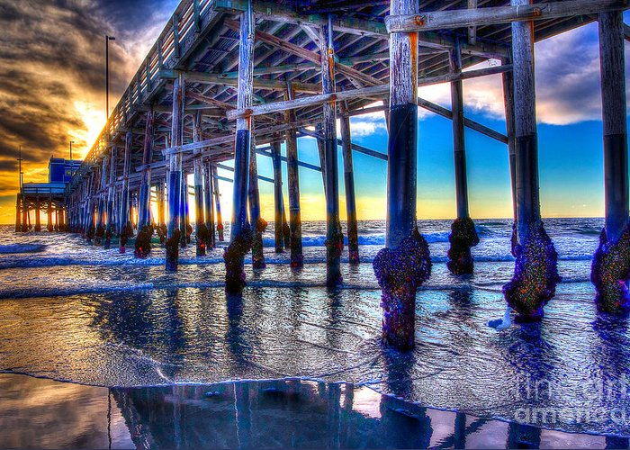 Pier Greeting Card featuring the photograph Newport Beach Pier - Low Tide by Jim Carrell