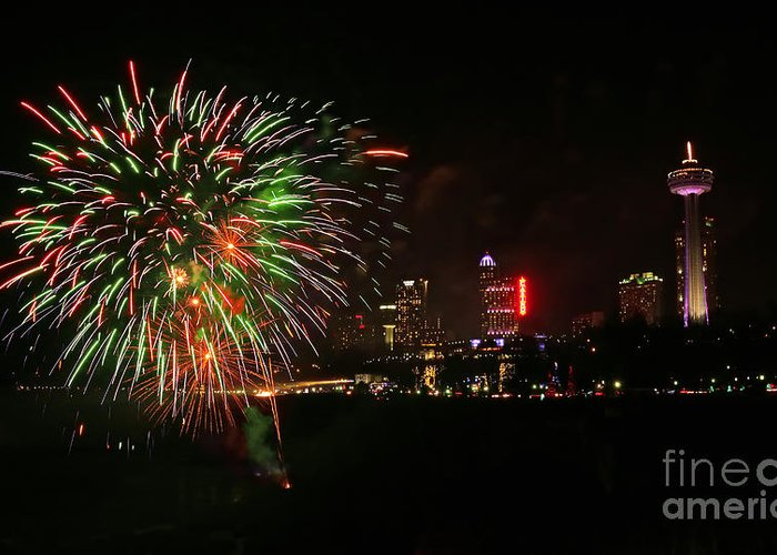 Niagara Falls Greeting Card featuring the photograph Niagara Falls Fireworks by Charline Xia