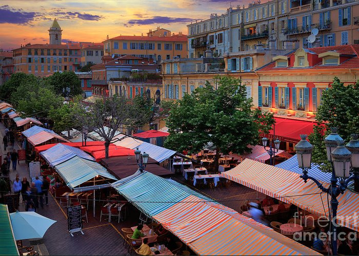 Cote D'azur Greeting Card featuring the photograph Nice Flower Market by Inge Johnsson