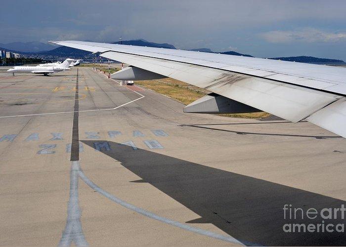 Aeroplane Greeting Card featuring the photograph Nice Internationat Airport by Sami Sarkis