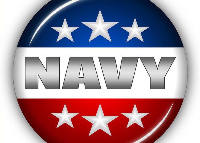 Navy Greeting Card featuring the digital art Nice Navy Shield by Pamela Johnson