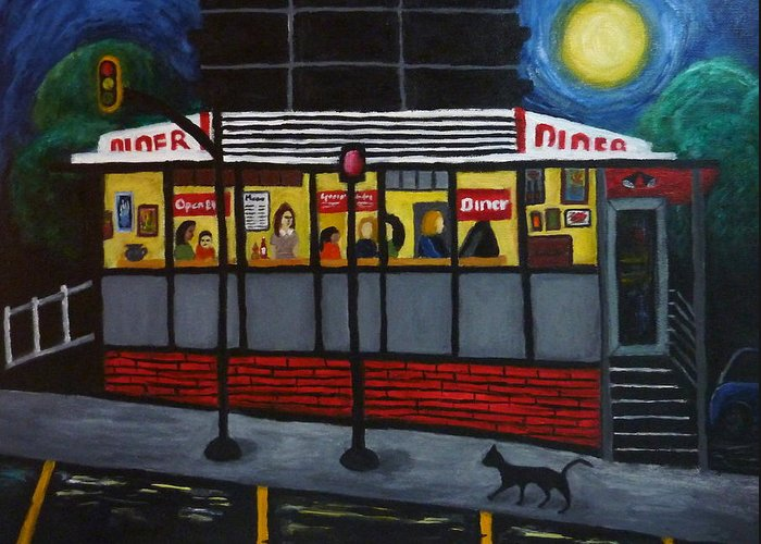 Diner Greeting Card featuring the painting Night At An Arlington Diner by Victoria Lakes