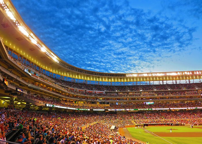 Baseball Greeting Card featuring the photograph Night Game At Target Field by Heidi Hermes