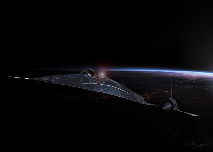 Sr-71 Greeting Card featuring the digital art Night Whisper Sr-71 by Peter Chilelli