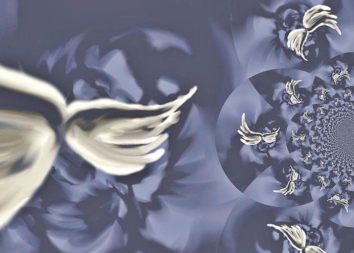 Wings Greeting Card featuring the painting Nights In White Satin by Absinthe Art By Michelle LeAnn Scott