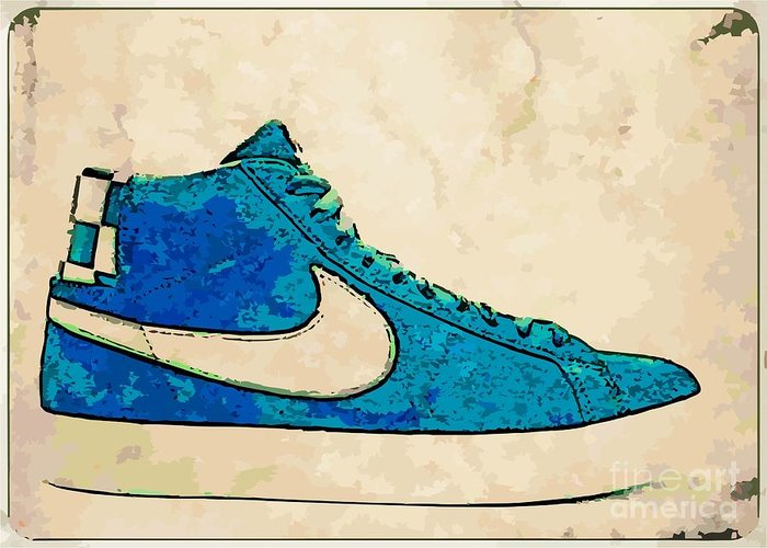 Nike Greeting Card featuring the digital art Nike Blazer Turq 2 by Alfie Borg