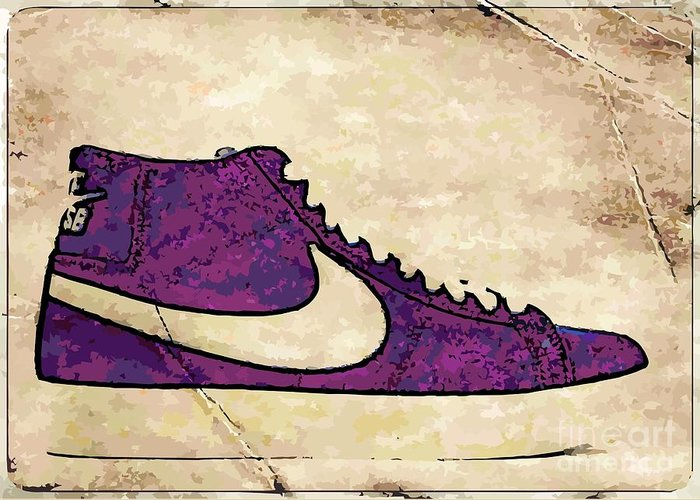 Nike Greeting Card featuring the digital art Nike Blazers Purple by Alfie Borg