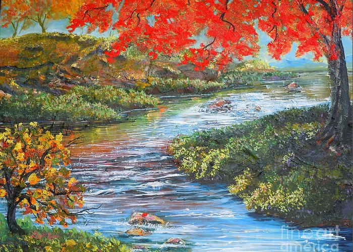 Nixon Greeting Card featuring the painting Nixon's Brilliant View Of Fall Alongside The Rapidan River by Lee Nixon