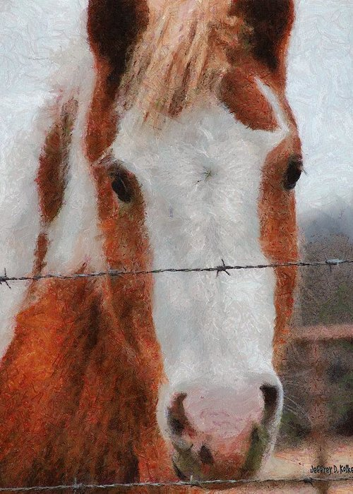 Barbed Wire Greeting Card featuring the painting No Fences by Jeff Kolker